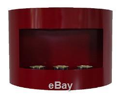 Bio Ethanol Kamin RIVIERA Rot mit Dekosteinen Wandkamin Bodenkamin Gelkamin