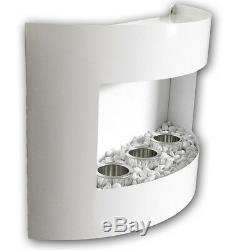 Bio Ethanol Kamin RIVIERA Weiß mit Dekosteinen Wandkamin Bodenkamin Gelkamin