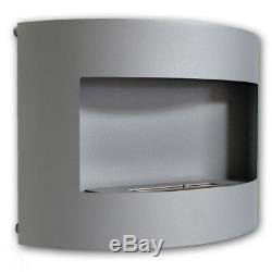 Bio Ethanol Wall Fireplace Riviera Deluxe Grey Matt + 1 Firebox