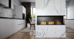 Bio ethanol fireplace with 3 built-in 124x36x15 burners with glass ORIZON Dx ope