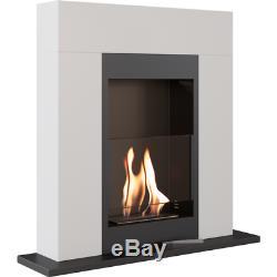 Bio ethanol freestanding fireplace WHISKEY WHITE TUV certified glow flame gratis
