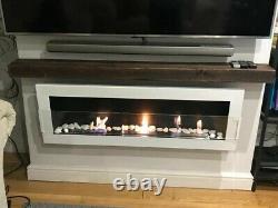 Bio ethanol wall mounted real flame fireplace in White & matt black steel