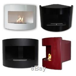 Bioethanol Corner Fireplace RIVIERA Deluxe Fire Place Red White Black