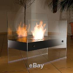 Bioethanol Standkamin aus Glas, Ethanol Kamin, Dekofeuer fürs Wohnzimmer