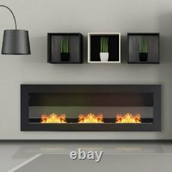 Black Bio Ethanol Fireplace Glass Wall/Inset Biofire Fire 3 Burner Room 120x40cm