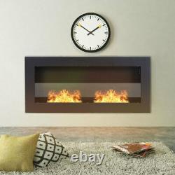 Black Home Bio Ethanol Fireplace Wall/Inset Biofire Fire Burner Heater 900x400mm