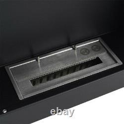 Black Wall Hung/Inset Bio Ethanol Fireplace Glass Biofire Fire Burner 1200x400mm