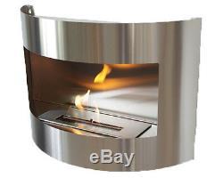 Cheminée à bio éthanol Diana Premium Deluxe Inox cheminée murale + brûleur 1 l