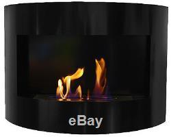 Cheminée à bio éthanol Riviera Deluxe Noir cheminée murale + brûleur 1 litre