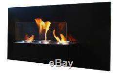 Cheminée à gel bio éthanol Rabea Deluxe Noir cheminée murale + Verre De Sécurité
