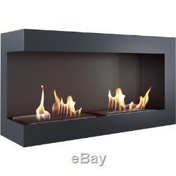DELTA CORNER 900 left side bio ethanol fireplace with 2 burners 1.8l