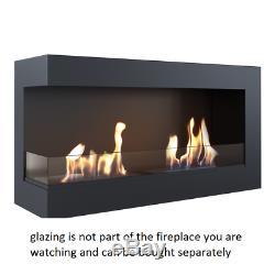 DELTA CORNER 900 left side bio ethanol fireplace witx 2x1.2l burners wool insert