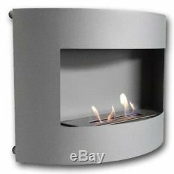 Design Fireplace RIVIERA Deluxe Grey Matt Bio Ethanol Gel Fire Place