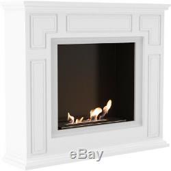 Edison white large bio ethanol freestanding fireplace / fireplace tv stand