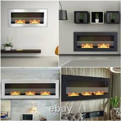 FIREPLACE Modern Wall Mounted Bio Ethanol Fireplace 900/1200 x 400 + GLASS PANEL