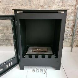 Freestanding Bio Ethanol Fireplace with Fuel Box & Ceramic Logs