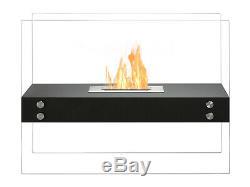 Freestanding Ventless Bio Ethanol Fireplace Vitrum H Black Ignis