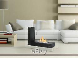 Freestanding Ventless Bio Ethanol Fireplace Vitrum L Black Ignis
