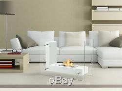 Freestanding Ventless Bio Ethanol Fireplace Vitrum L White Ignis