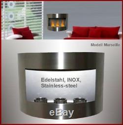 Gel- and Ethanol-Fireplace Lanah Stainless-Steel / Made in Germany / bio etanol