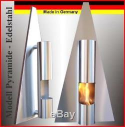 Gel- et Ethanol-Cheminée Pyramide Acier-Inoxydable / Fabriqué en Allemagne / bio