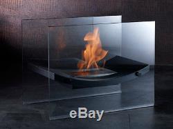 Gläserner Bio Ethanol Standkaminedelstahlmattschwarzdekofeuer Für Wohnzimmer