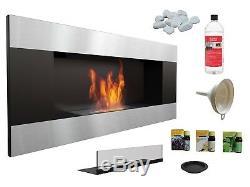 HQ BIO ETHANOL FIREPLACE ECO FIRE BURNER 900x400 BLACK METAL 1L FUEL FREE GLASS