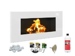 HQ BIO ETHANOL FIREPLACE ECO FIRE BURNER 900x400 WHITE GLOSS 1L FUEL FREE