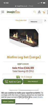 Imagine Fires, Biofuel Pembroke Fire With Ceramic Log Set Rrp £750 Hardly Used