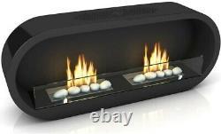 Imaginfires Marlow Glossy Black Twin Fireplace Oval Modern Wall Bio Ethanol