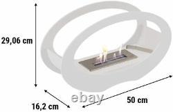 Kratki Oval Bio Ethanol Fireplace Echo Fire White 29cm H x 50cm W x 16.2cm D