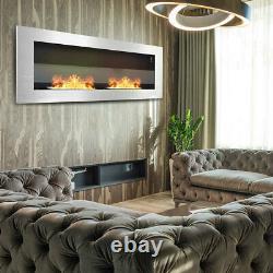 Large Bioethanol WallHang Fireplace Glass Ethanol Bio Fire Burner 900X400 Silver