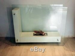 Large Contemporary Bio-ethanol Fire- Toughened Glass Surround With Ceramic Logs