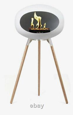 Le Feu White Ground Bioethanol Tripod fireplace 79cm Soap Treated Oak Will Deliv