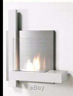 Luna Wall Mounted Bio Ethanol Fireplace in White heater