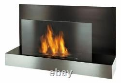 Madrid Gel Fireplace Black Stainless Steel Bio Ethanol Wall Cheminee