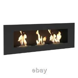 Marana Bio Ethanol wall mounted fireplace (Black) (1200mm x 400mm)