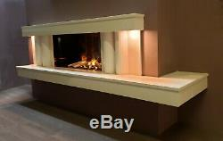 Marble & Granite Hole In The Wall Fireplace With Bio Ethanol Fire