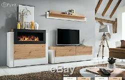 Modern Wall Unit TV Stand QUEENS Bio Ethanol Fireplace Free P&P Push Click