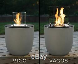 Muenkel design Vigo Riffelung weiß-grau BIO-Ethanol Feuerstel (FKE-0872. RWS)