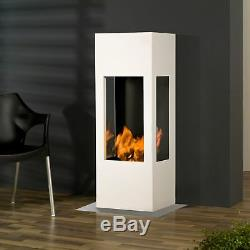 Muenkel design prism fire Bioethanolkamin 3-seitige Sicht Reinweiß (warm)