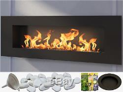 NEW PREMIUM Bio Ethanol Fire Biofire Fireplace 1200 x 400 Bioethanol / Glass /