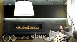 N E W Bio ethanol fire fireplace 1400 x 400 + GLASS PANEL + WHITE PEBBLES