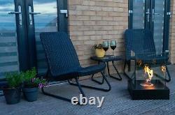 New bio ethanol large 1l fireplace burner friendly garden patio heater BLACK