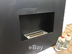 Onyx Flame black satin steel bio ethanol fireplace + fuel, pebbles, accessories