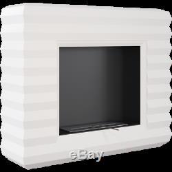 Peoria white freestanding bio ethanol fireplace