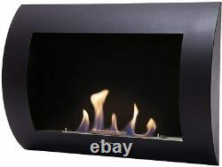 Purline Biochimenea INOX-CLASIC B Bio-Ethanol Wall Mounted Fireplace, Black