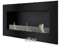 Recessed Wall Ventless Bio Ethanol Fireplace Optimum Black Ignis