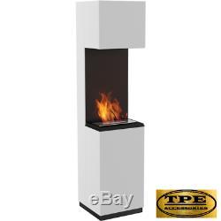 SIERRA + Glazing Free Standing Contemporary Bio-Ethanol Bio Fireplace TUV