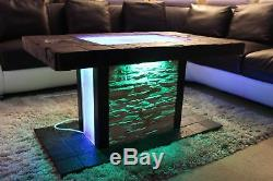 Solid Coffee Table Fire Pit LED Table Bio-Ethanol Fireplace Burner Patio Heater